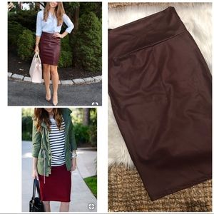 NWOT New Maroon Faux Leather Stretch Pencil Skirt